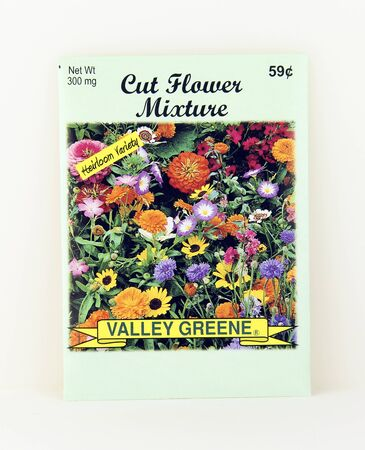 SPENCER , WISCONSIN, May, 10, 2015  Package of Valley Greene Cut Flower Seeds. Valley Greene is an American Seed company originating from Greene, NY, Sajtókép