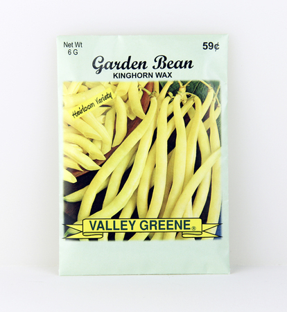 SPENCER , WISCONSIN, May, 9, 2015  Package of Valley Greene Wax Bean Seeds. Valley Greene is an American Seed company originating from Greene, NY,