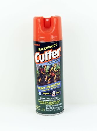 backwoods: SPENCER , WISCONSIN, May, 11, 2015  Can of Cutter Backwoods Insect Repellent. Cutter is an American company and a division of United Industries Editorial