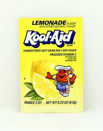 SPENCER , WISCONSIN, May, 12, 2015  Package of Lemonade Flavored Kool-Aid. Kool-Aid is now owned by Kraft Foods and was invented in 1927