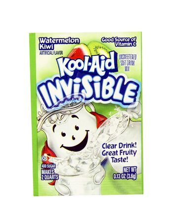 SPENCER , WISCONSIN, May, 12, 2015  Package of Watermelon Kiwi Flavored Kool-Aid. Kool-Aid is now owned by Kraft Foods and was invented in 1927 Sajtókép
