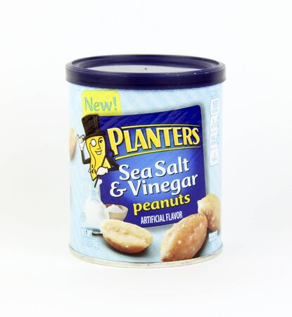 planters: SPENCER , WISCONSIN, May, 28, 2015  Container of Planters Sea Salt and Vinegar Peanuts. Planters is a division of Kraft Foods and was founded in 1906