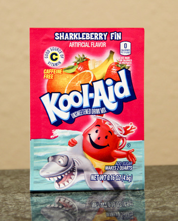 SPENCER , WISCONSIN, June, 27, 2015  Package of Sharkleberry Fin Kool-Aid  Kool-Aid is a brand of powdered drink mix owned by Kraft Foods . it was introduced in 1927 Sajtókép