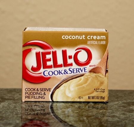 flavored: SPENCER , WISCONSIN, July, 12, 2015  Box of Coconut Cream flavored JELL-O is a registered trademark of Kraft Foods and was founded in 1897