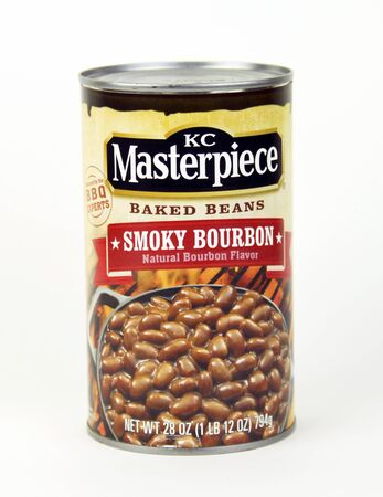 marketed: SPENCER , WISCONSIN, August, 14  2015   Can of KC Materpiece Baked Beans  KC Materpiece is marketed by th HV food groups company owned by Clorox
