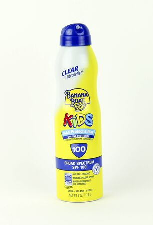 sunburnt: SPENCER , WISCONSIN, September, 1,  2015  Can of Banana Boat Spray Sunscreen Banana Boat Sunscreen is owned by The Energizer Company
