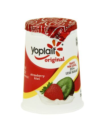 internationally: SPENCER , WISCONSIN, September, 9, 2015  Container of Yoplait Strawberry Kiwi Yogurt Yoplait is an internationally franchised brand of yogurt founded in 1965