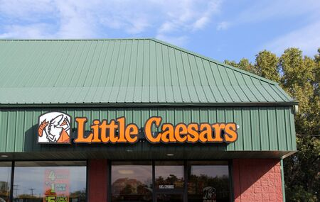 SPENCER , WISCONSIN, OCTOBER, 4  2015    Little Ceasars Storefront Sign  Little Ceasers was founded in 1959
