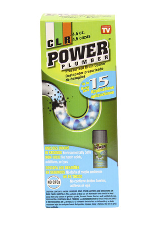 cary: SPENCER , WISCONSIN, OCTOBER, 7  2015  Can of CLR Power Plumber  CLR is a product of the Cary Company founded in 1895