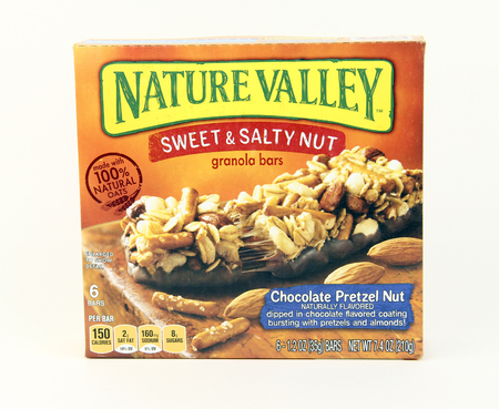 consumer goods: SPENCER , WISCONSIN, October, 20, 2015   Box of General Mills Nature Valley Sweet & Salty Nut Bars  General Mills is an American consumer goods manufacturing Company founded in 1866 Editorial