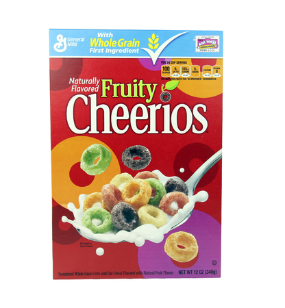 consumer goods: SPENCER , WISCONSIN, October, 23, 2015   Box of General Mills Fruity Cheerios Cereal  General Mills is an American consumer goods manufacturing Company founded in 1866