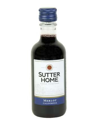 distilled alcohol: SPENCER , WISCONSIN, October, 31, 2015   Bottle of Sutter Home Merlot Wine  Sutter Home was established in 1874 and is one of the largest family owned wineries in the United States