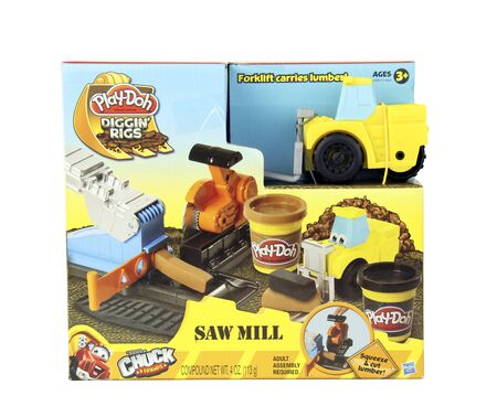 playdoh: SPENCER , WISCONSIN, November, 30, 2015    Box of Play-Doh Diggin Rigs Saw Mill kit for children   Play-Doh is now owned by Hasbro and was founded in 1955