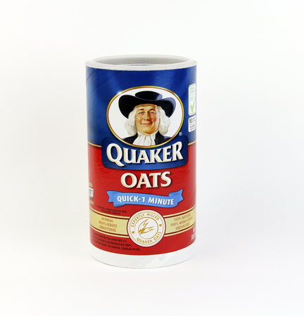 quaker: SPENCER , WISCONSIN, December, 6, 2015    Box of Quaker Oats Oatmeal Cereal  Quaker Oats is an American food company founded in 1901