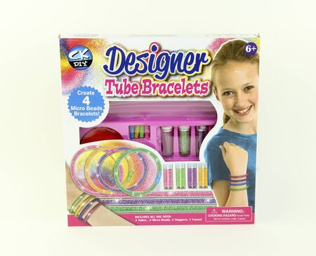 braclets: SPENCER , WISCONSIN, December, 6, 2015    Designer Tube Braclets Kit by Creative Kids  Creative Kids LLc was founded in 1998 and headquartered in New York an Hong Kong Editorial