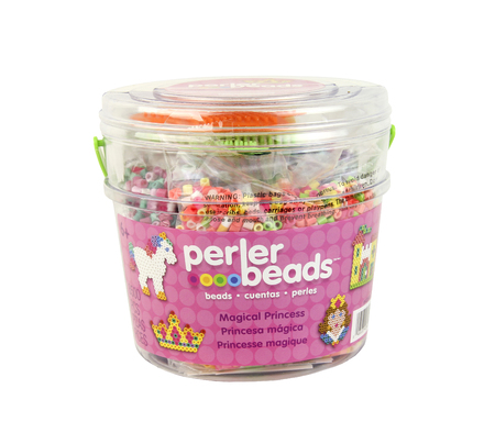 consumer products: SPENCER , WISCONSIN, December,18, 2015   Plastic Bucket of Perler Beads  Perler Beads are manufactured by EKsuccess a creative consumer products company