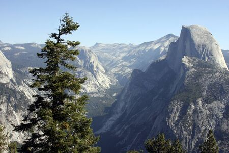 long range: Long range view of El Capitan Mountain in Yosemite National Park Stock Photo
