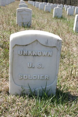Many unknown sodier grave markers make up a historic unknown soldier cemetery