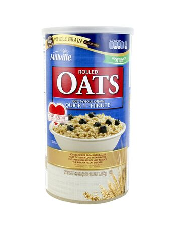 specific: SPENCER , WISCONSIN, January,15, 2016   Millville Rolled Oats Whole Grain Cereal  Miiville is an American brand made specific for Aldis Food Stores
