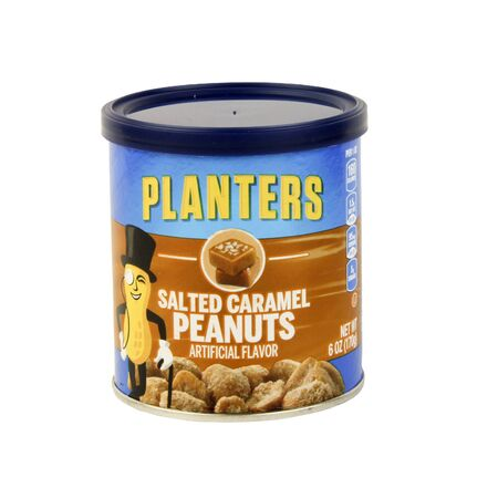 planters: SPENCER , WISCONSIN, January,29, 2016   Can of Planters Salted Caramel Peanuts  Planters is an American snack food company founded in 1913 Editorial