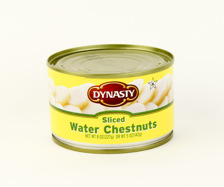 dynasty: SPENCER , WISCONSIN, January,30, 2016   Can of Dynasty Sliced water chestnuts  Dynasty is a Hong Kong based food company Editorial