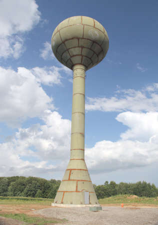 waits: New watertower is constructed and waits for painting