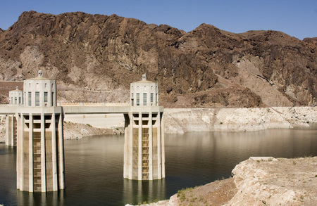 hoover: Hoover Dam intake stations showing low water levels