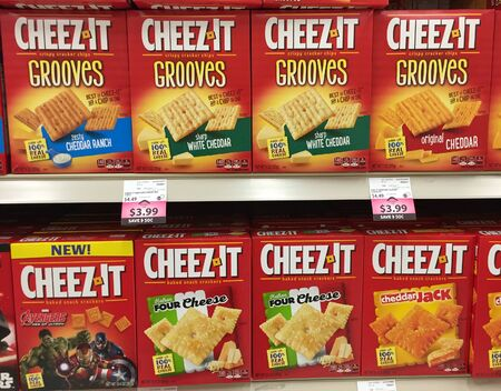 SPENCER , WISCONSIN, April,13, 2016    Several boxes of Cheez It brand crackers   Cheez It is a Kellogg  brand first introduced in 1921