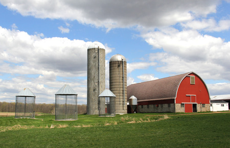 Wisconsin Dairy Farm in a spring setting with a blue sky background
