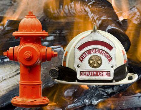 Firefighter hat and hydrant over a flames and fire background