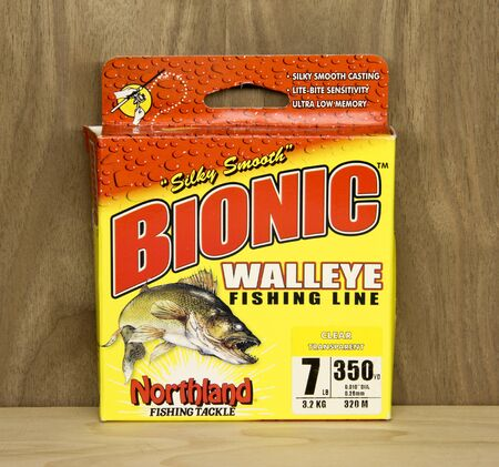 bionic: Spencer, Wisconsin, May, 10, 2016   Box of Bionic Walleye Fishing Line  Bionic is a product of Northland Fishing Tackle an American based company