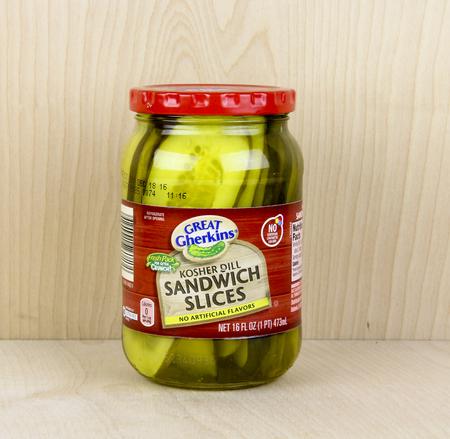 gherkins: Spencer, Wisconsin, May, 28, 2016  Jar of  Great Gherkins Sandwich Slices Pickles   Great Gherkins is a trademark of Aldi Foods