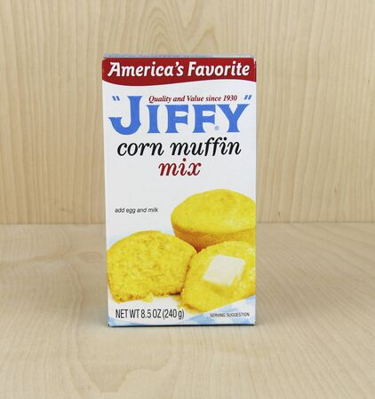 marketed: Spencer, Wisconsin, June, 1, 2016  Box of Jiffy Corn Muffin Mix     Jiffy is a brand of baking mixes marketed by the Chelsea Milling Company Editorial