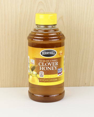 spencer: Spencer, Wisconsin - October, 1, 2016   Jar of Berryhill Clover Honey  Berryhill is an American based company
