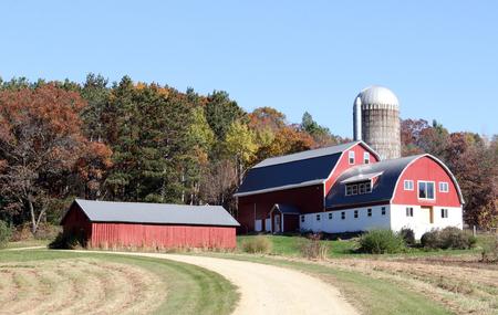 Wisconsin melkveebedrijf met rode schuur silo en schuur met vallen gekleurde bomen op de achtergrond Stockfoto