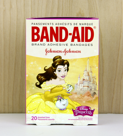 San Diego, California, Janruary, 6, 2017   Box of Band-Aid adhesive bandages   Band-Aid is a line of medical products under Johnson & Johnson and was founded in 1920 Sajtókép