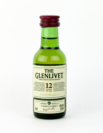 12 year old: Spencer, Wisconsin, January,19,2016,  Mini bottle of 12 year old Glenlivet Scotch Whisky  The Glenlivet is based in Scotland and was founded in 1824
