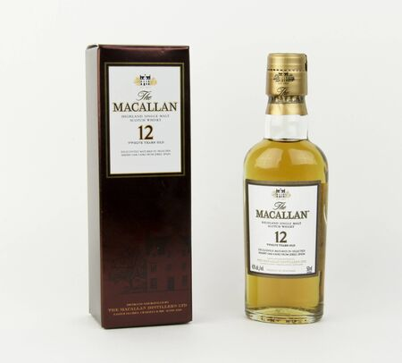 12 year old: Spencer, Wisconsin, January,19,2016,  Mini bottle of Macallan 12 year old Scotch Whisky  Macallan is a single malt whisky from Scotland founded in 1824 Editorial