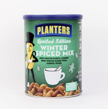planters: Spencer, Wisconsin, January,22,2016  Can of Planters Winter Spiced Mix Nuts   Planters is an American based snack food company founded in 1906
