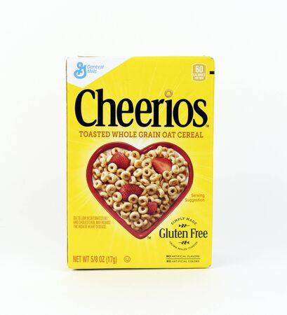 spencer: Spencer, Wisconsin, January,22,2016  Box of Cheerios Cereal   Cheerios is an American brand of cereal manufactured by General Mills