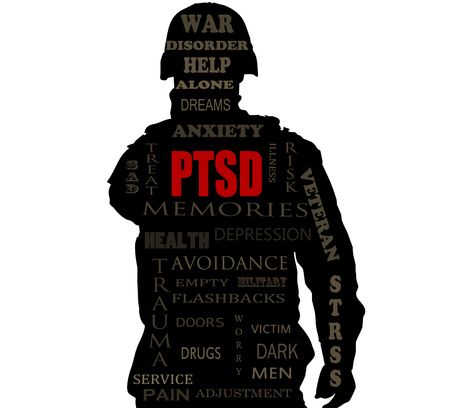 sihlouette: PTSD word cloud over a Soldiers sihlouette Stock Photo