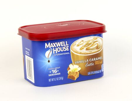 maxwell: Spencer, Wisconsin, March, 3, , 2017  Can of Maxwell House Vanilla Caramel Latte   Maxwell House is and American made product and was founded in 1882