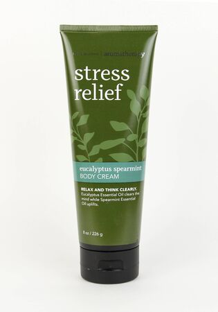 Spencer, Wisconsin, March,15,  2017   Tube of Bath & Body Works Stress Relief Body Cream   Bath & Body Works is an American based company founded in 1990