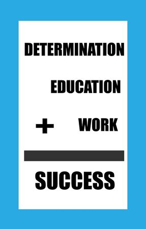 sign equals: Determination plus Education plus work equals success sign with a blue border and black lettering