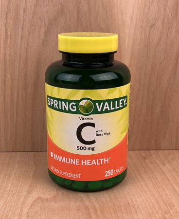 Spencer, Wisconsin,January,13,2018    Bottle of Spring Valley Vitamin C Tablets  Spring Valley is a Wal-Mart brand of supplements