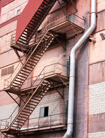 Fire Escape on the outside of a Factory Building