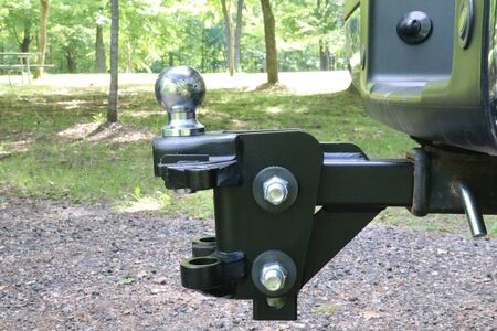Weight distribution trailer hitch hooked to a truck Stock Photo