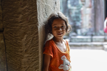 A Sunshine girl at Angkor wat Temple, Siem Reap, Cambodia  photo