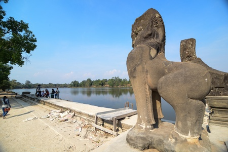 angor: The lion statue of Angor Wat bridge in the morning