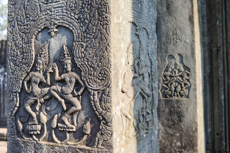 aspara art angkor wat temple ruins camboida photo